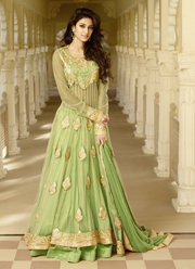 Online Sea Green Net Party Wear Long Anarkali Suit Shopping